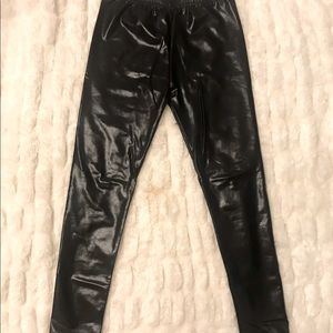 Black pleather leggings. Shiny and sexy, like new!